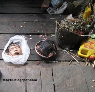 kepalanya di belah menjadi dua, bagian wajah dibungkus plastik bagian ...