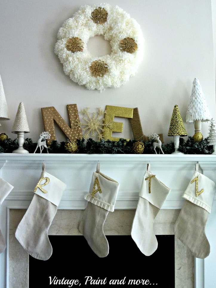 Vintage, Paint and more...DiY'd vintage Christmas mantel with yarn wreath, drop cloth stockings and diy cone trees