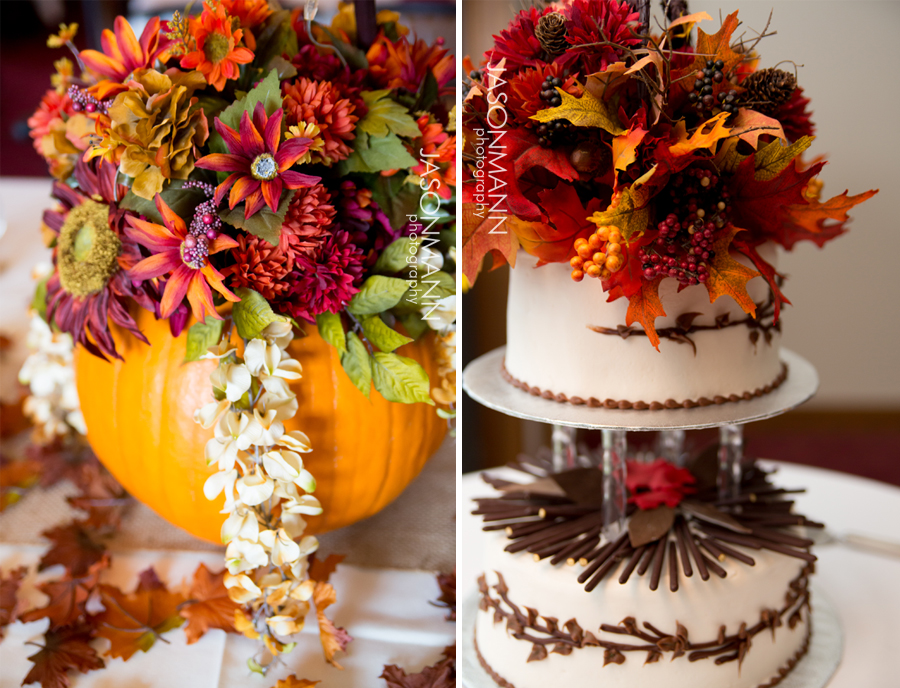 Jewel tones with Marsala fill these fall inspired pumpkin centerpieces and float atop this gorgeous cake. Photos by Jason Mann Photography.