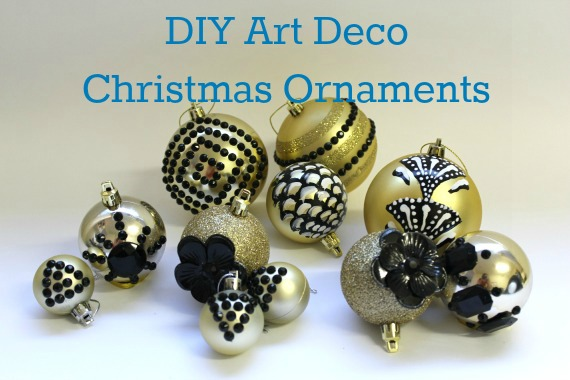 back and gold christmas ornaments geometric art deco gemstone jewels flower glitter baubles