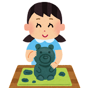 粘土で遊ぶ子供のイラスト(女の子)