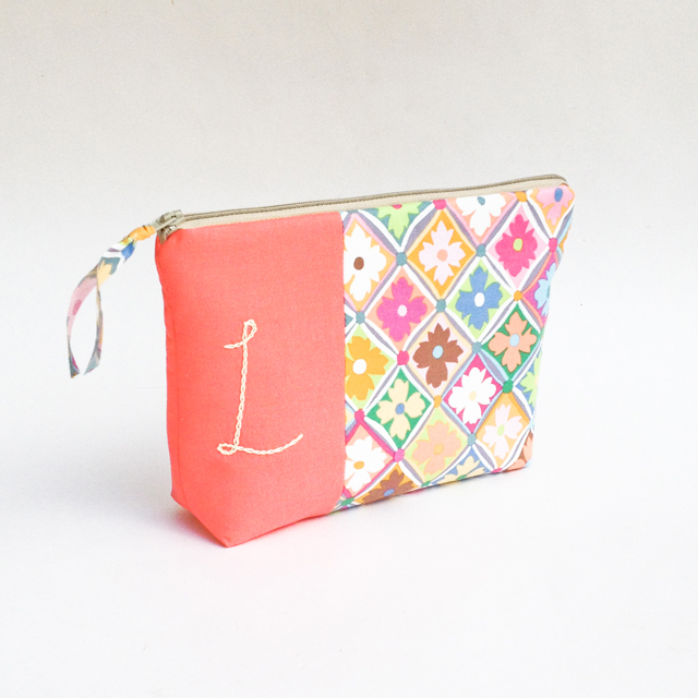 Monogram Cosmetic Bag, Personalized Gift for Bridesmaid by Mama Bleu Designs