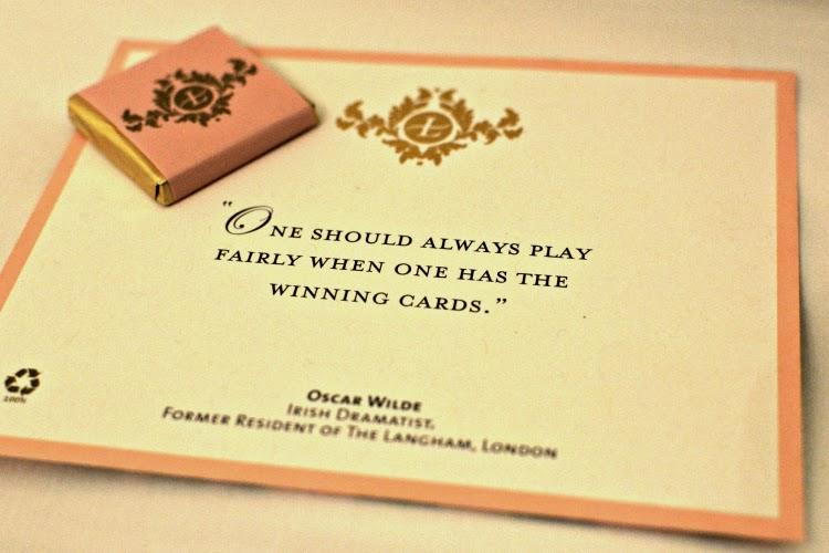 Oscar Wilde quote at Langham Hotel turndown service