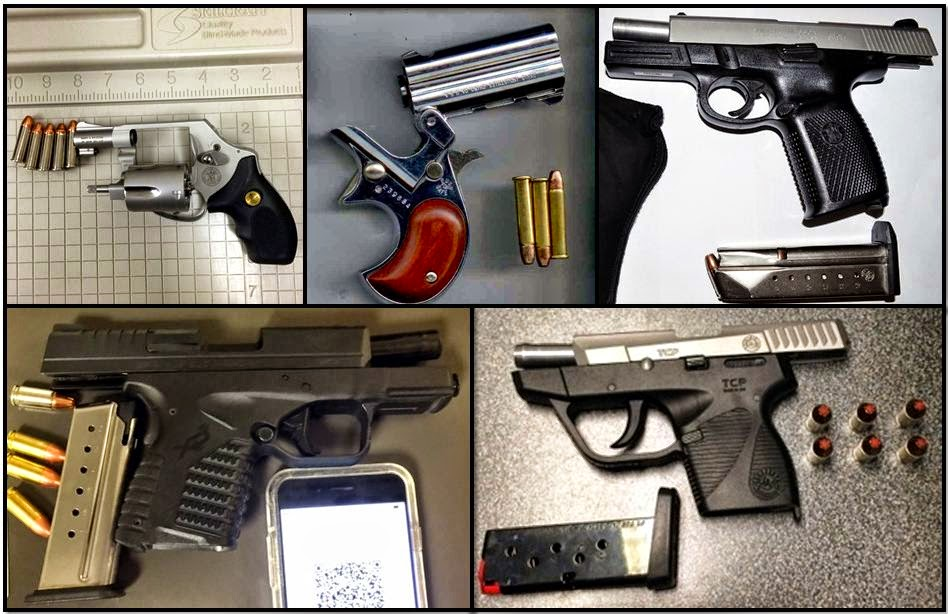 Clockwise from top left, firearms discovered at: IND, PHX, TYS, BNA, and AUS