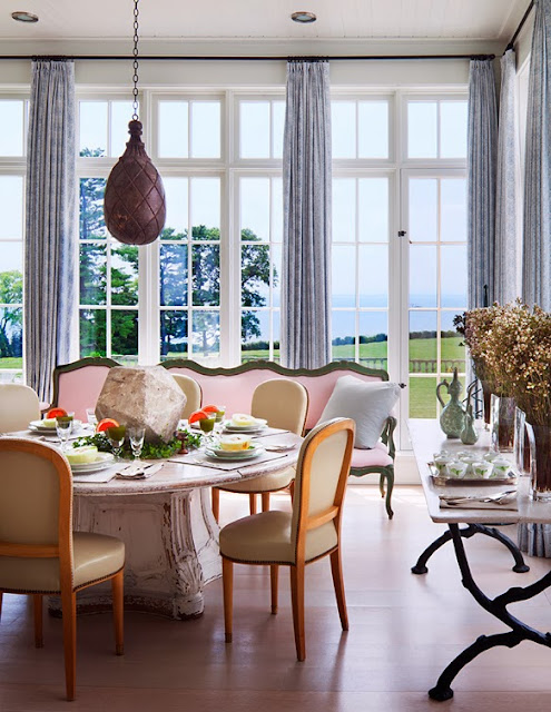 Dining room in a mansion with ocean views