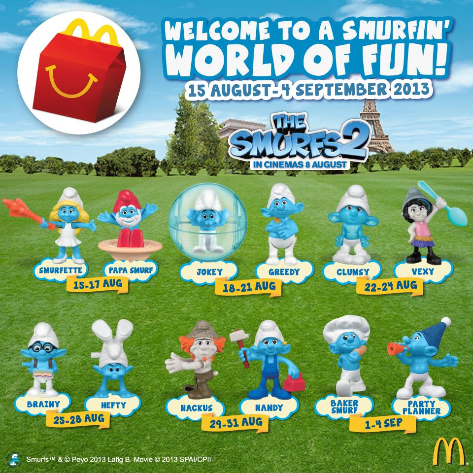Mcdonald S Happy Meal Toys 2013 : The smurfs happy meal toys