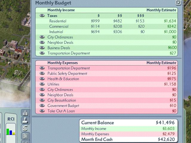 simcity 4 how to raise taxes