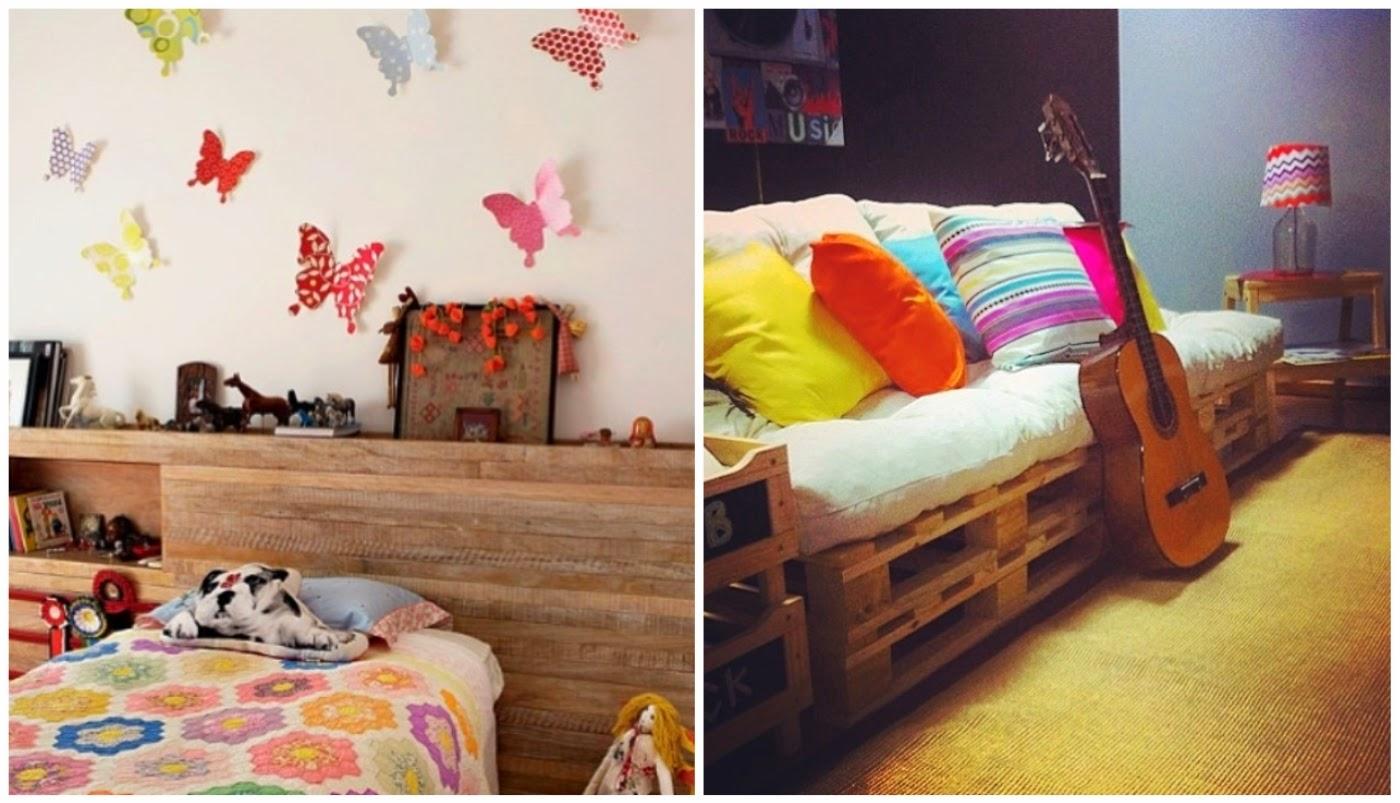 borboletas decorando a parede @interioresdesigndecoracao e paletes servindo de base para o sofá @meumoveldemadeira