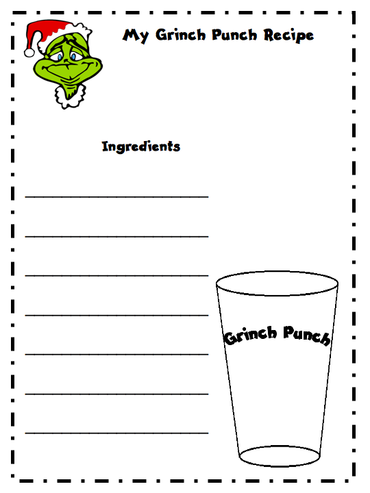 Click Here for your copy of Grinch Punch Activity