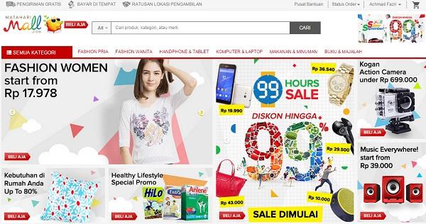 Tampilan Website Mataharimall.com