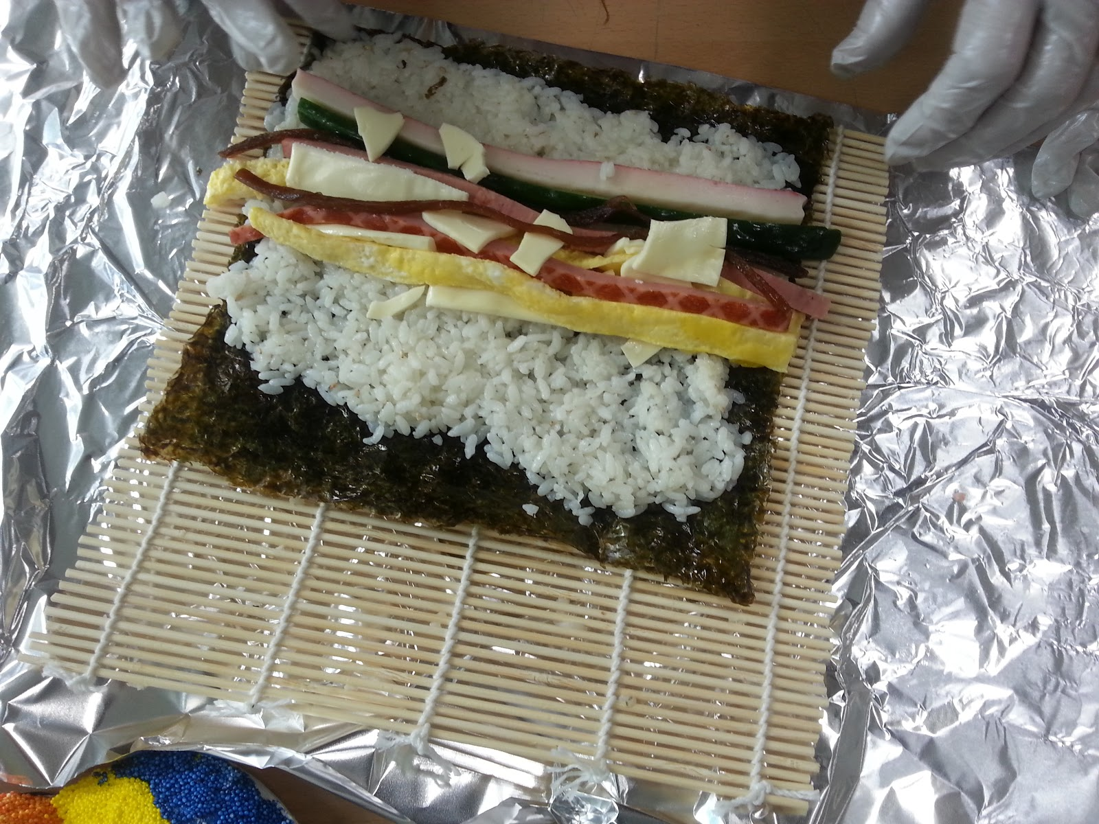 Kimbap preparation