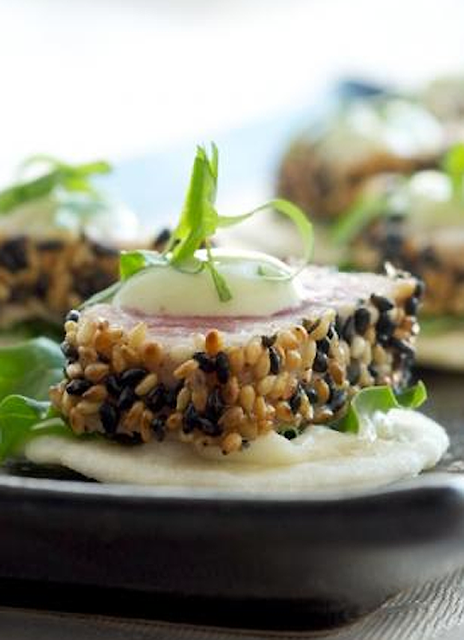 Scrumpdillyicious: Sesame Crusted Seared Ahi Tuna with Avocado