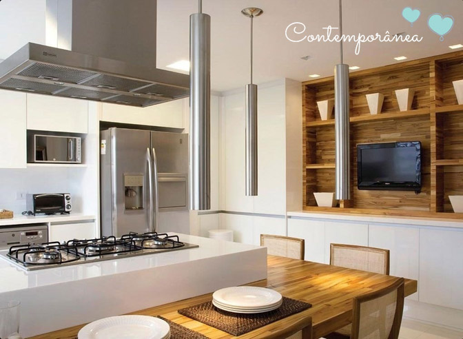 Cozinha com ilha, cooktop e coifa  Comprando Meu Apê  Comprando Meu Apê # Ilha Cozinha Em Alvenaria