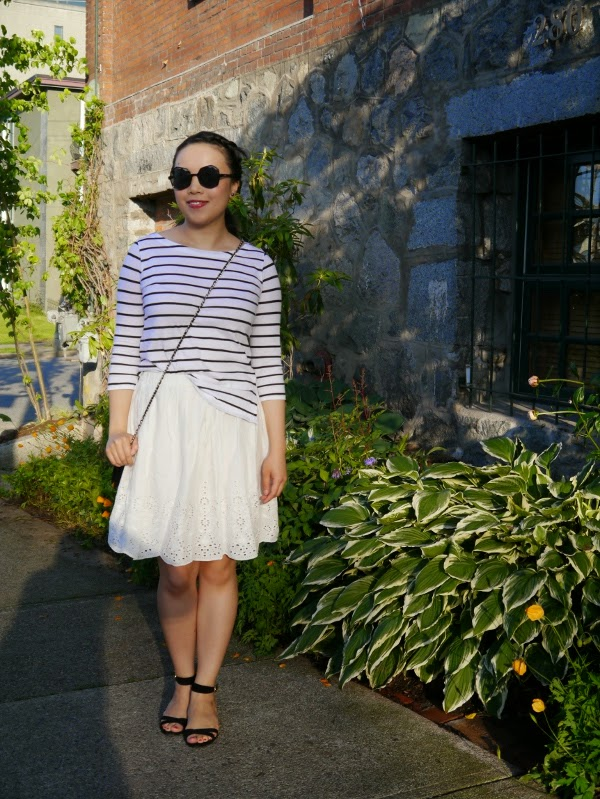 Black and white Breton striped top and white eyelet skirt for summer