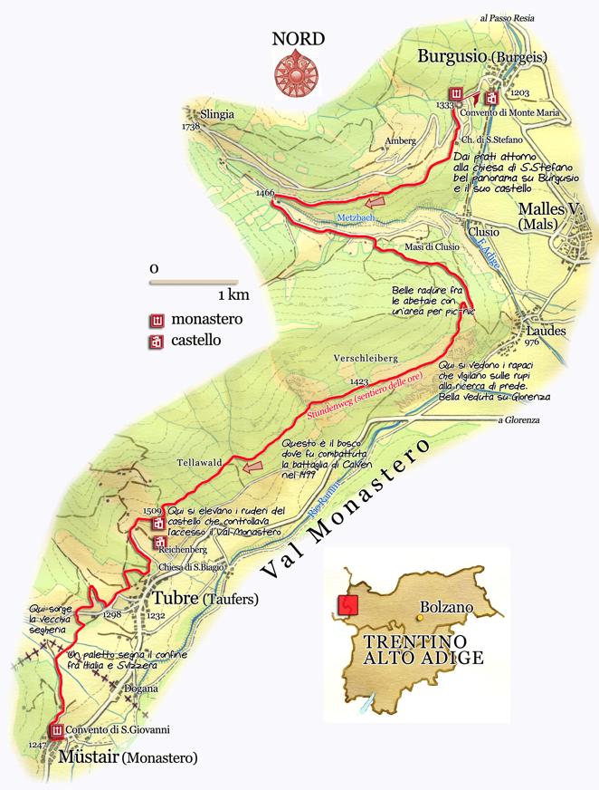 Mappa della Stundenweg Val Venosta Val Mustair