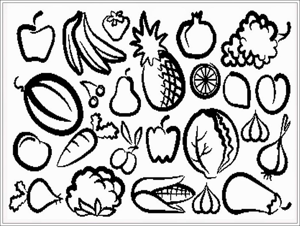 mewarnai gambar buah buahan dan sayuran