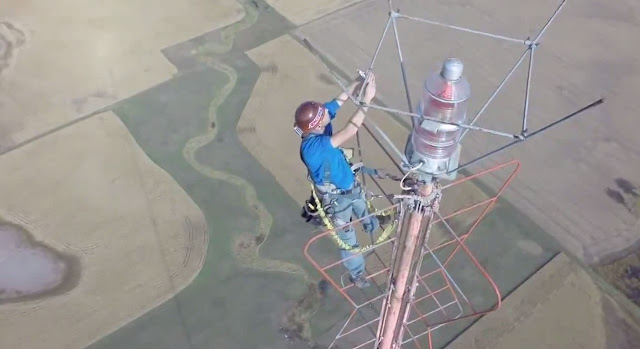 1500 TV Tower, 1500 Foot TV Tower, Climbing, Drone Cam, PrairieAerial, Prairie Aerial, Kevin Schmidt, Joseph Thorin, Todd Thorin, Oklahoma City, KWTV, Channel 9, DronCam,
