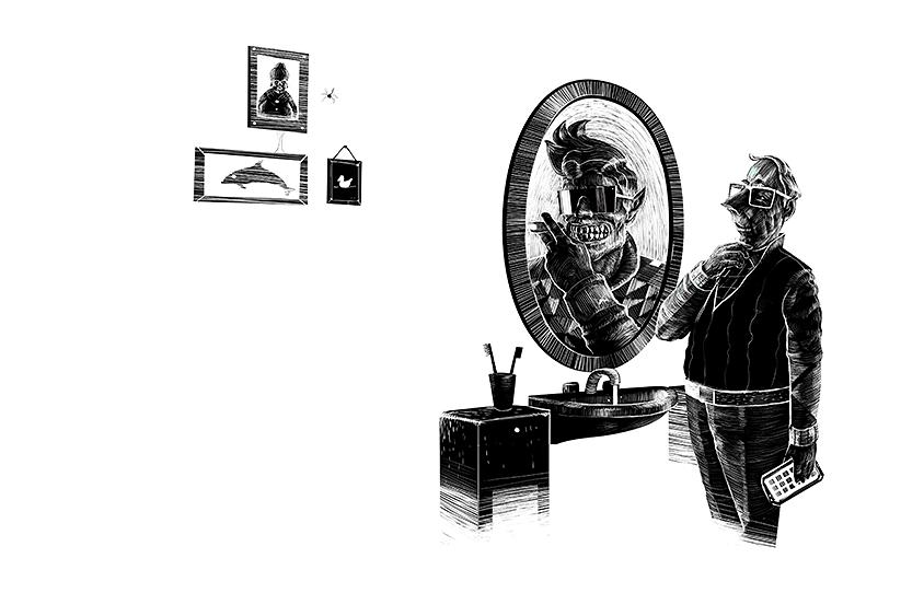 Salon Alpin. Alle Meine Freunde. Über den Umgang mit Facebook und Co (Todos mis amigos. Sobre el uso de Facebook y Cia). Editorial Illustration