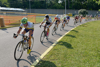 Picture of bicycle racers headed toward the finish line at the River City Bicycle Classic