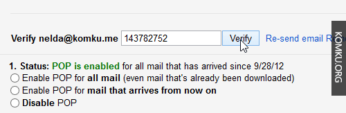 verify the forwarding email address