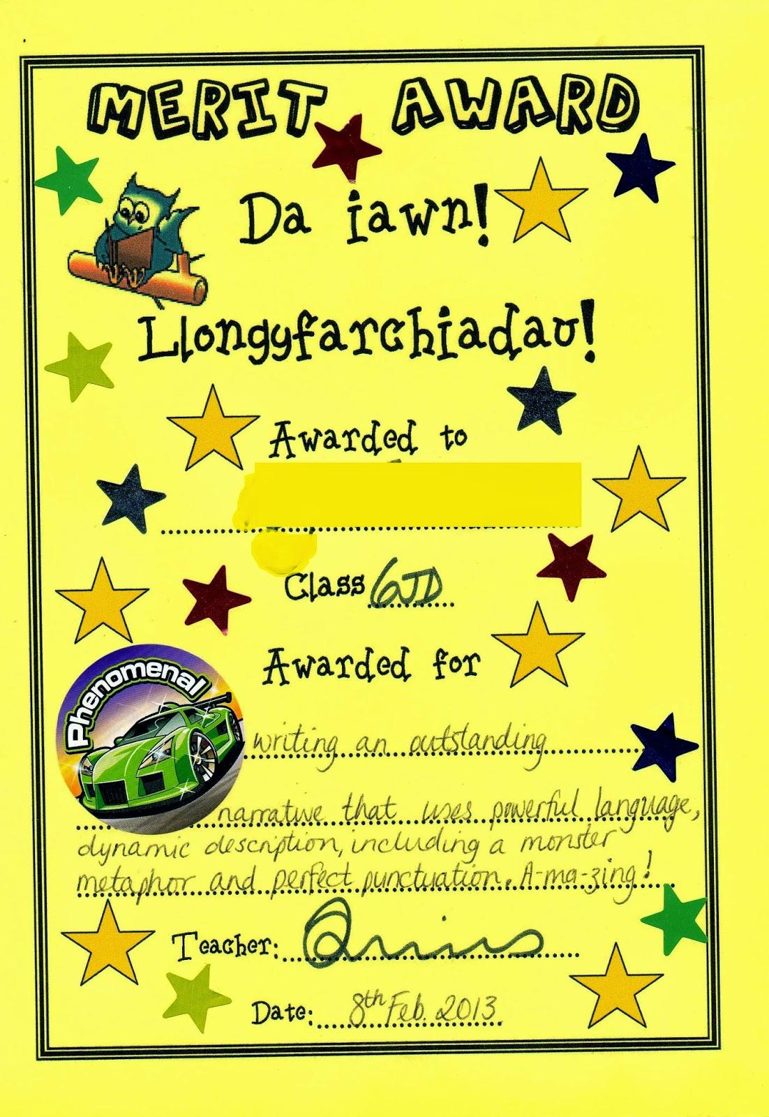 イギリスの学校 特別教育支援 英語の作文でもらった優秀賞