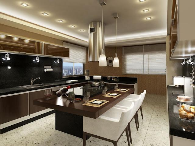 decoracao cozinha bege:Meu Palácio de 64m²: Cozinha com ilha central