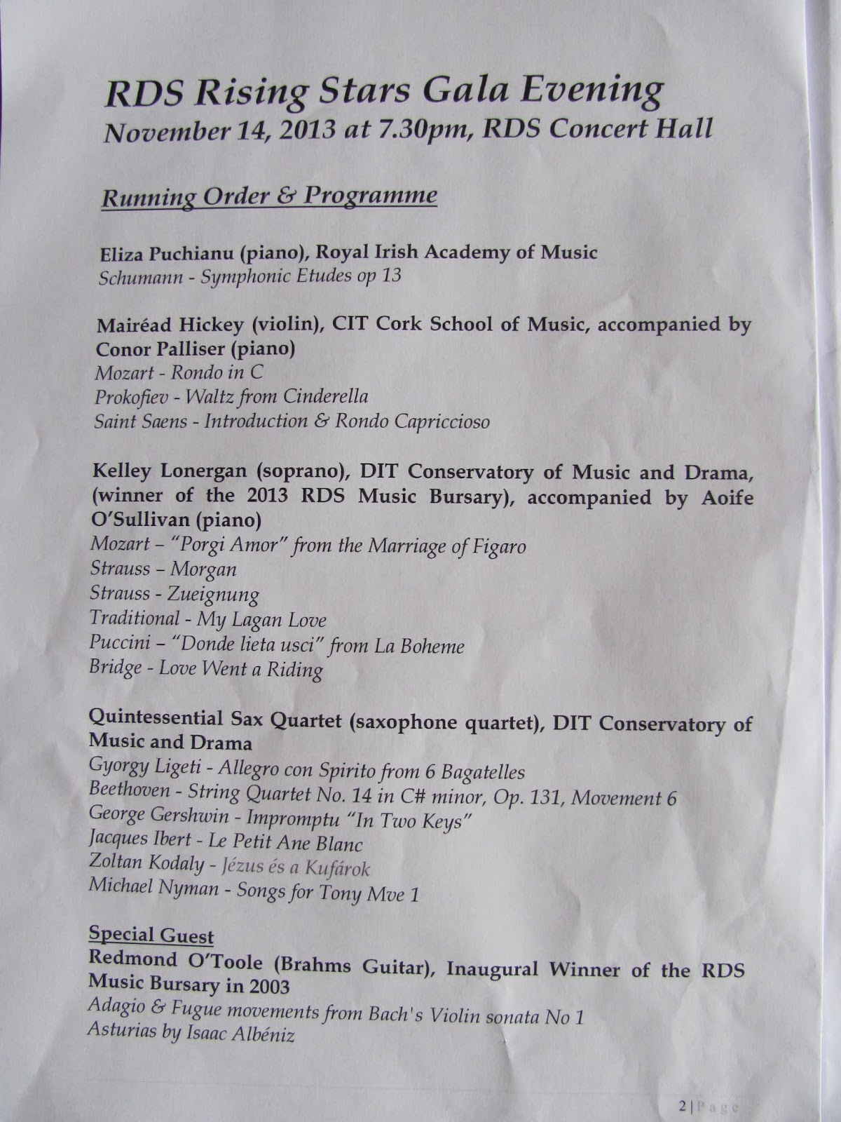 The Program(me) for RDS Rising Stars Gala Evening November 2013