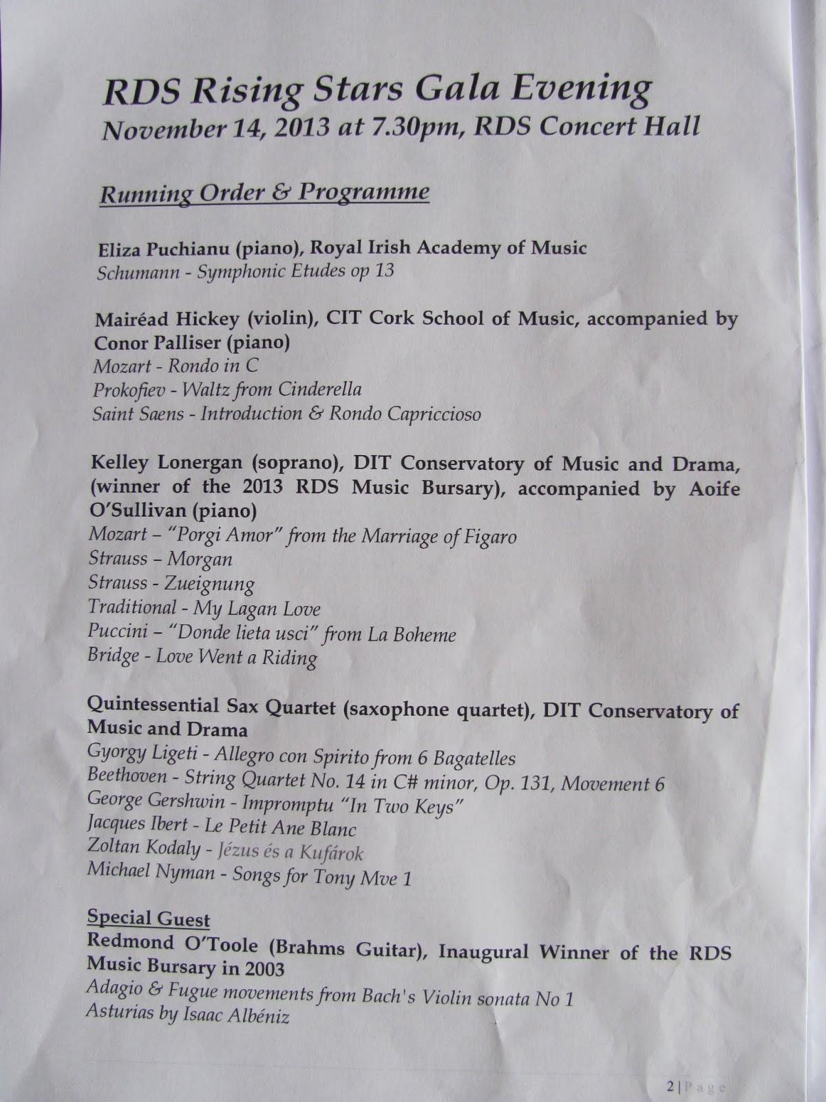 The Program(me) for RDS Rising Stars Gala Evening November 2013