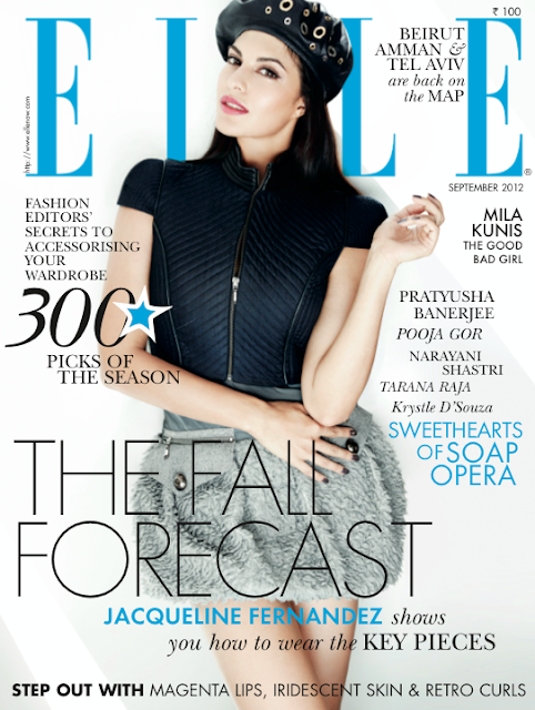Jacqueline Fernandez on the cover page of Elle India - September 2012