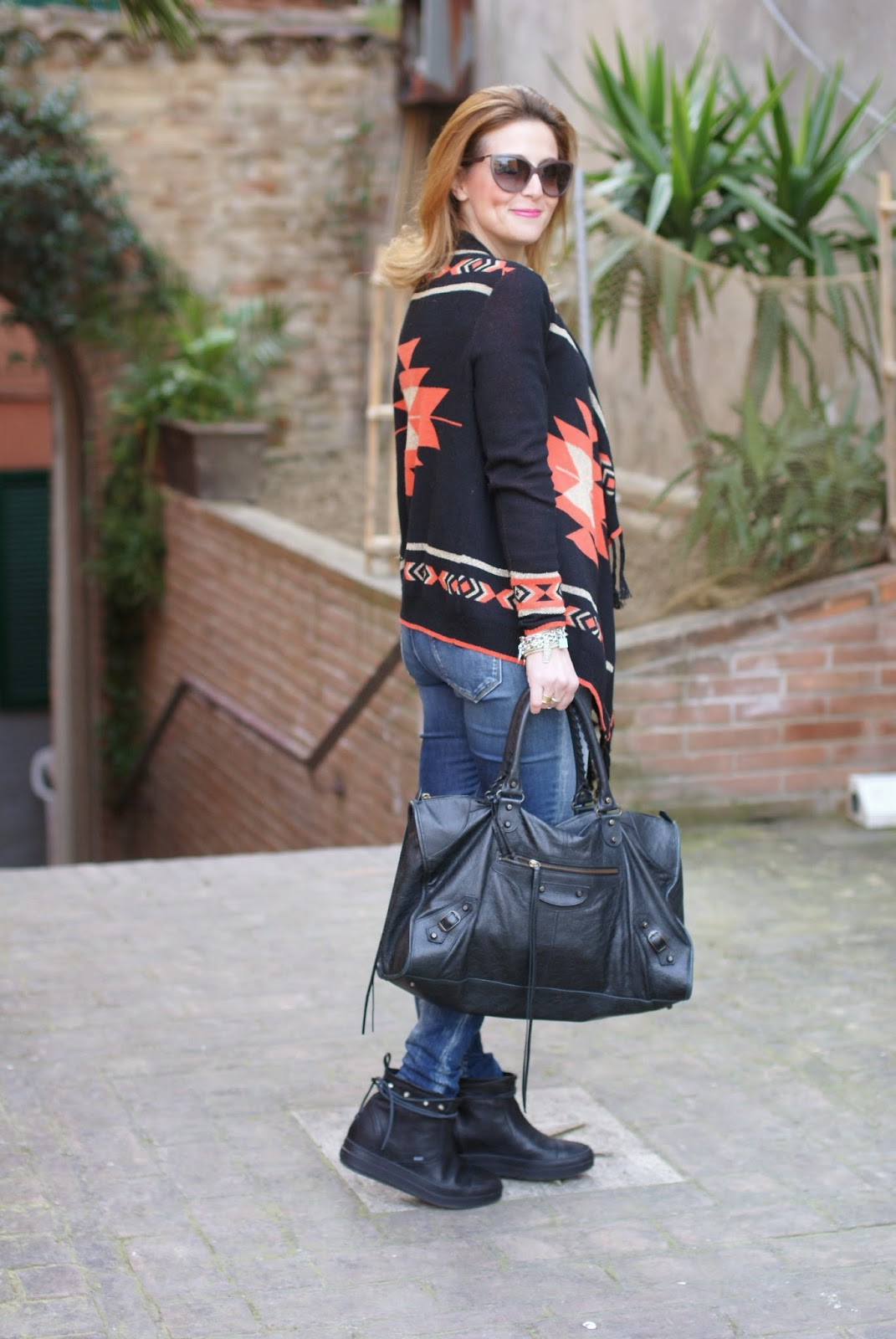 balenciaga work bag, ruco line ariel boots, aztec cardigan, Fashion and Cookies, fashion blogger
