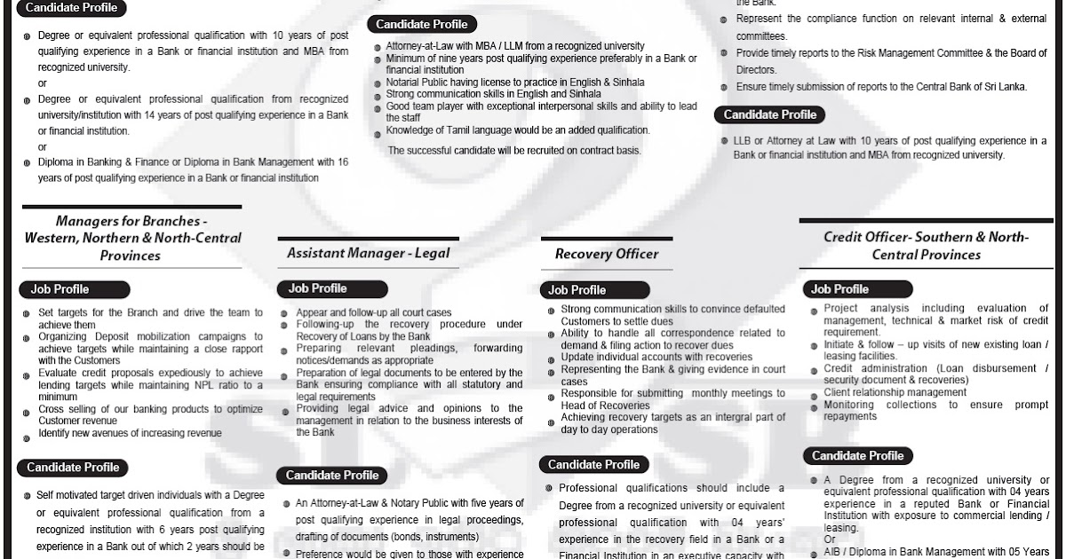 Assistant general manager senior manager legal compliance officer sri lanka vacancies - Assistant compliance officer salary ...