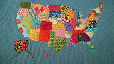 With Much Love And Many Hugs - Us state map quilt