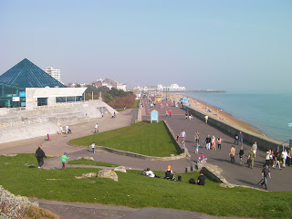 crowds enjoying southsea seafront by the pyramids on a saturday