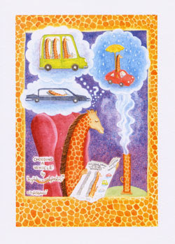 Giraffe Greeting Cards by UK Artist Ingrid Sylvestre - Choosing a Vehicle