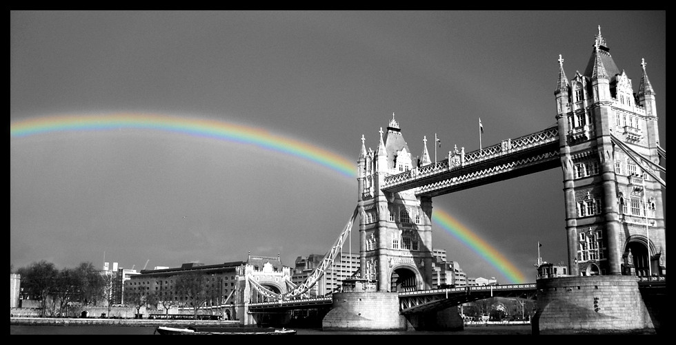 Beautiful Rainbow on London Bridge Black and white photography