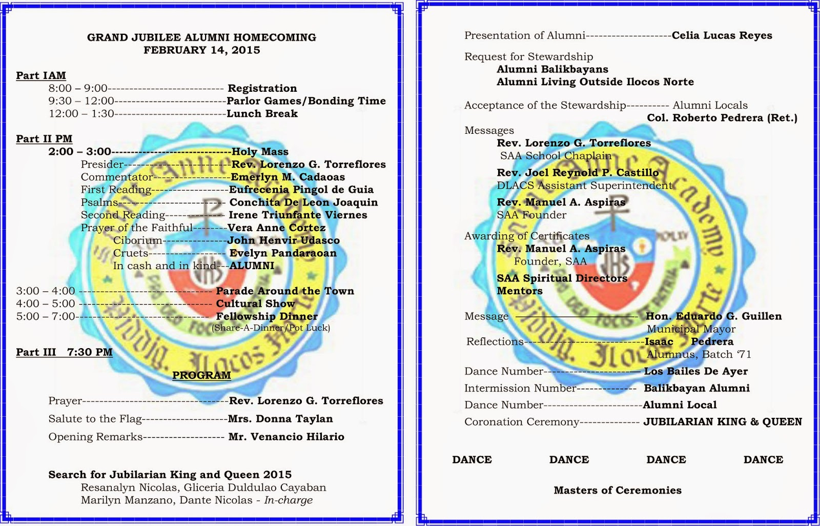 Saint anne academy alumni association golden jubilee alumni golden jubilee alumni homecoming program yadclub Image collections