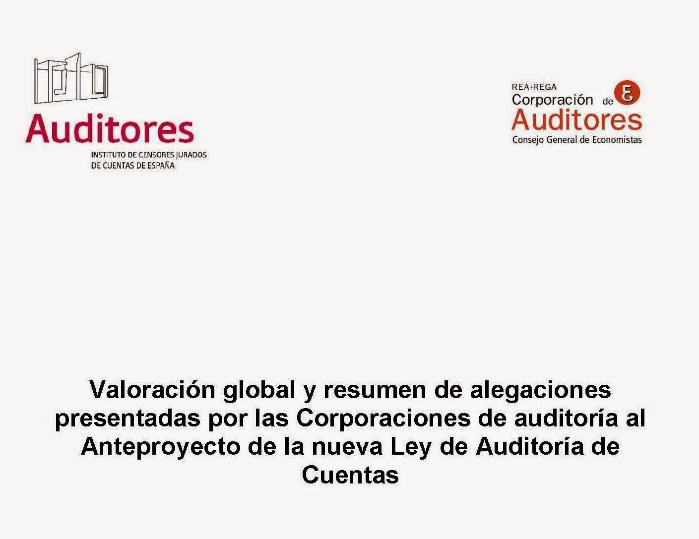 Anteproyecto Ley Auditoría de Cuentas ALAC alegaciones corporaciones