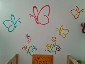 Muurschildering vlinders