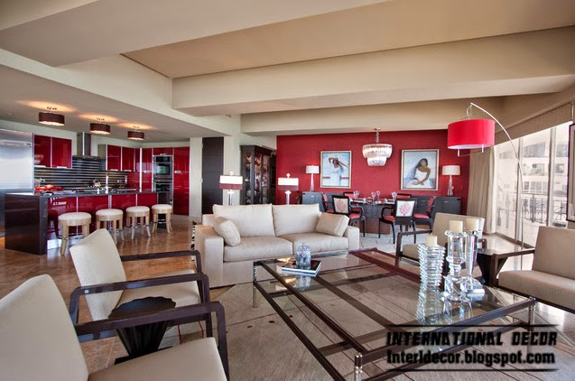 decorate with red, red interior