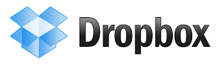 The Dropbox logo consisting of an open flapped blue box and the word Dropbox alongside