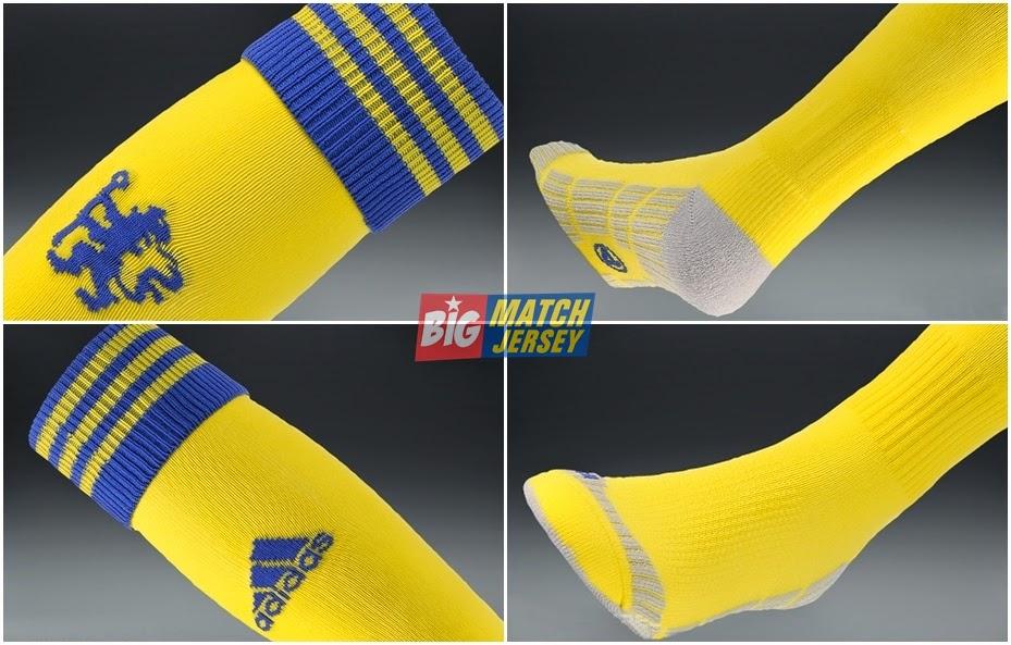 Detail Kaos Kaki GO Adidas Tim Inggris Chelsea Away Warna Kuning 2014-15