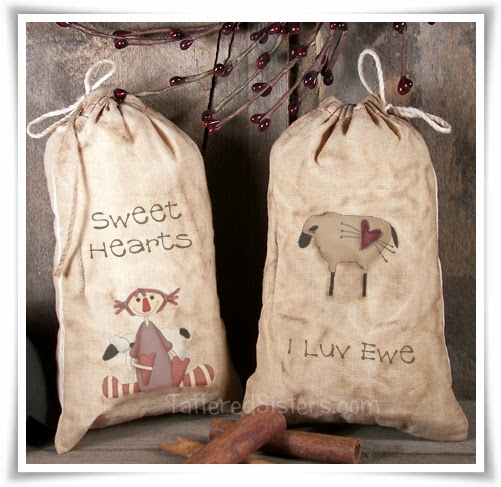 Primitive Grungy Valentine Treat Bags