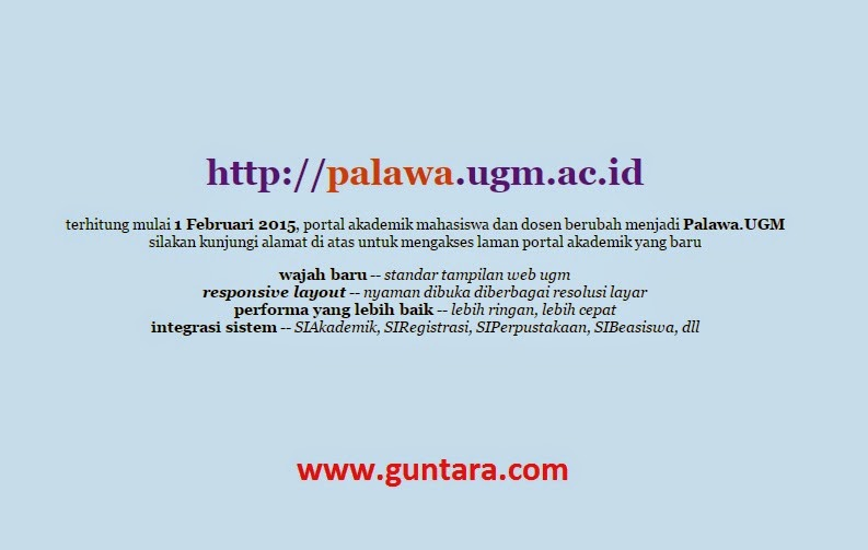 Halaman Peringatan pada Portal Akademik UGM www.guntara.com