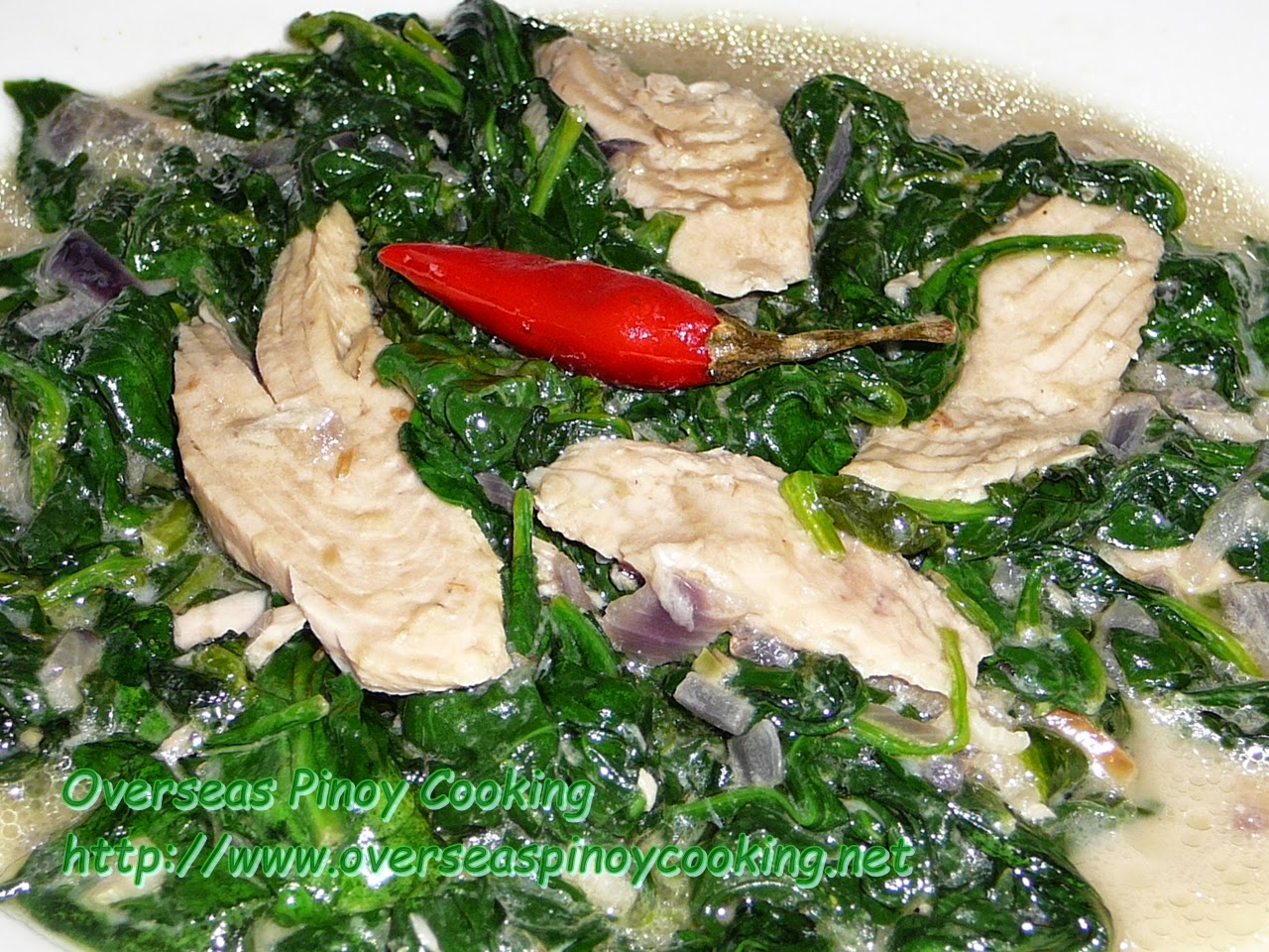 Canned Smoked Tuna with Spinach in Coconut Milk