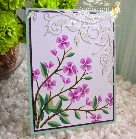 stenciled cherry branch front card