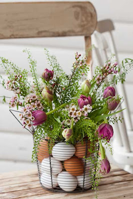 Eggs and Flowers in a Wire Basket from idemakeriet