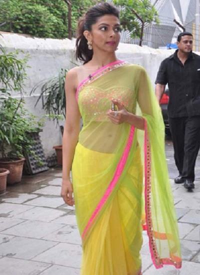 Deepika Padukone in Arpita Mehta Designer yellow saree ...