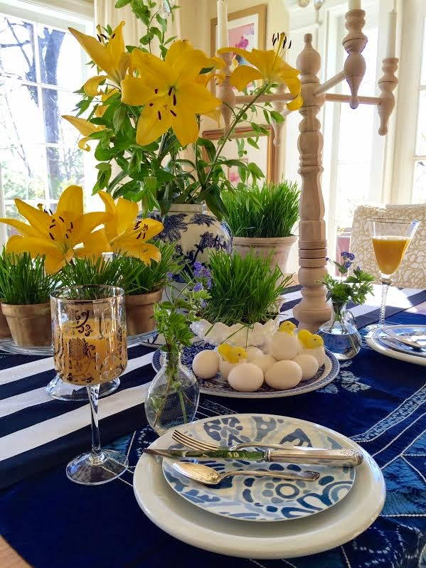 I included my DIY candelabra for fun! & Simple Details: Spring u0026 Easter Table Setting