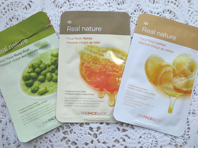 a picture of The FaceShop Real Nature Mung Bean Sheet Mask, Honey Sheet Mask, Lemon Sheet Mask