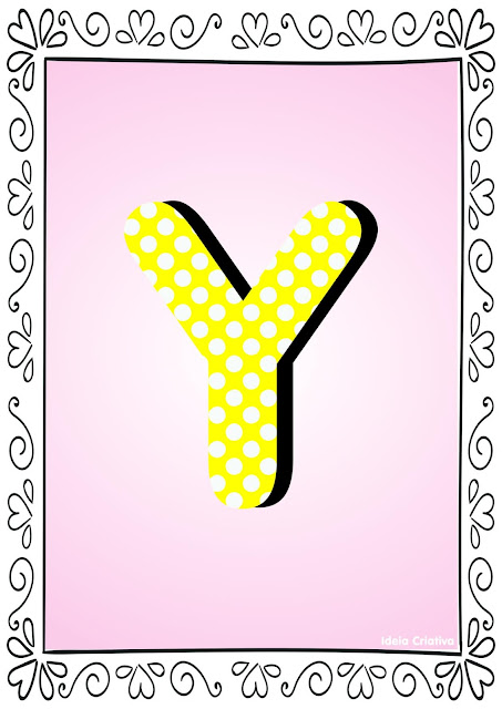 Alfabeto Poá Colorido com Borda Letra Y